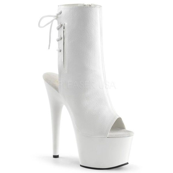 "Pleaser Adore-1018 7"" White Stiletto Heel Platform Open Toe/Heel Lace-Up Back"