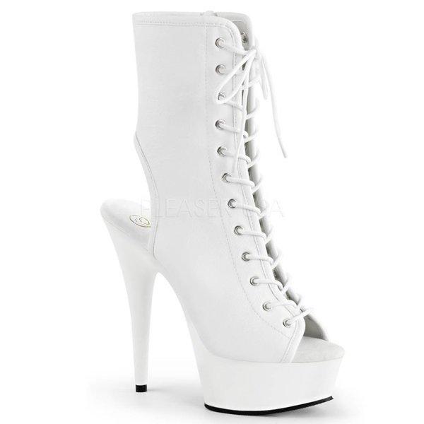 """Pleaser Delight-1016 6"""" Heel White Platform Open Toe/Heel Lace Up Bootie w/Side Zip"""