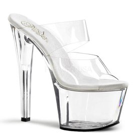 "Pleaser Sky-302 Two-Band 7"" Spike Heel Clear Platform Heel"
