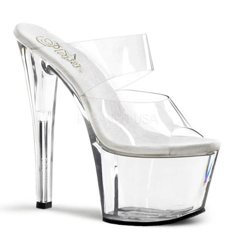 "Sky-302 Two-Band 7"" Spike Heel Clear Platform Heel"