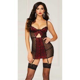 Seven 'til Midnight Lace Overlay Shadow Stripe Chemise