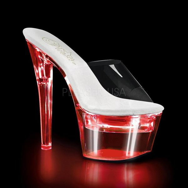 "Pleaser Flashdance 7"" Spike Heel LED  Illuminated Platform Slide Sandal"