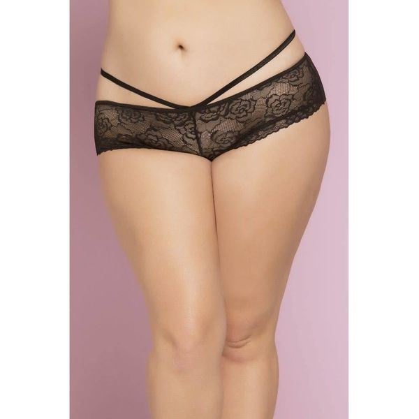 Seven 'til Midnight Lace Cheeky Panty with Criss-Cross Straps - Curvy