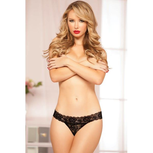 Seven 'til Midnight Rose Lace Thong Black