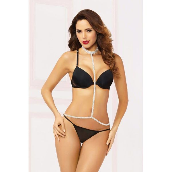 Seven 'til Midnight Rhinestone Belly Chain with Choker