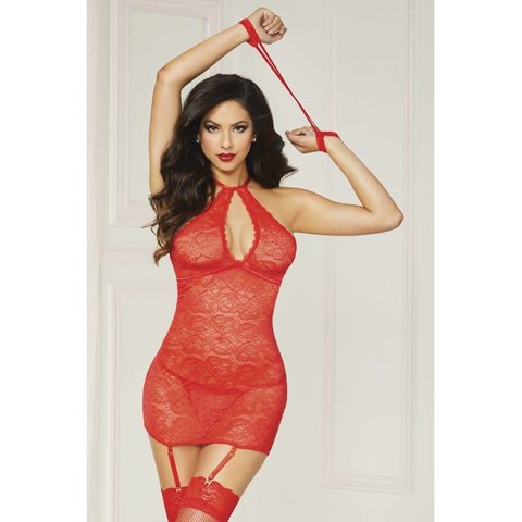 Floral Lace Chemise with High Neck