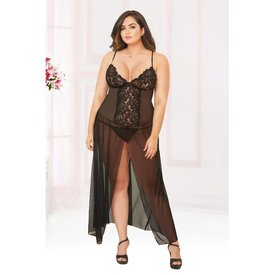 Seven 'til Midnight Moonlight Stretch Mesh Split  Gown - Curvy