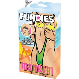 Envy Fundies Mankini With Mustache - One Size Fits Most