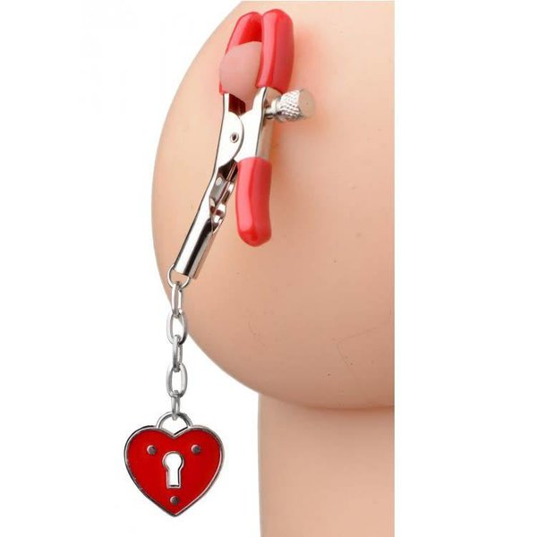 XR Brand Heart Padlock Nipple Clamps - Red