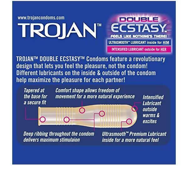 Trojan Trojan Double Ecstasy  Condoms - 3 Pack