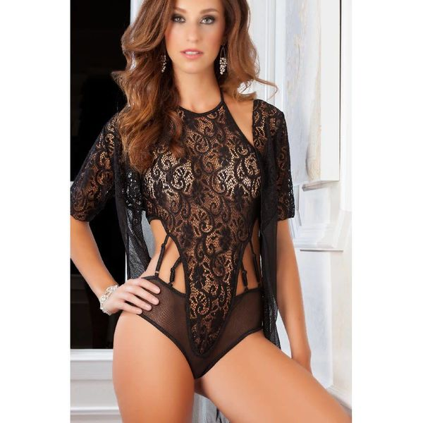 G World  Intimates High Neck Lacy Teddy and Robe Set - Black - One Size