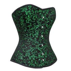 Groove Brocade Overbust Corset Green