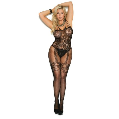 Fishnet and Lace Bodystocking Curvy/Plus