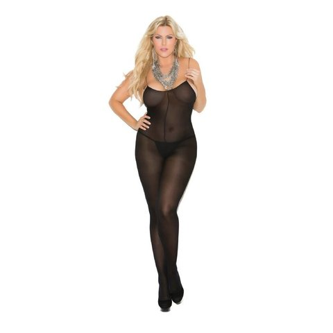 Opaque Bodystocking With Spaghetti Straps Black Curvy/Plus