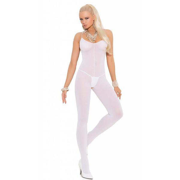 Opaque Bodystocking With Spaghetti Straps White Curvy/Plus