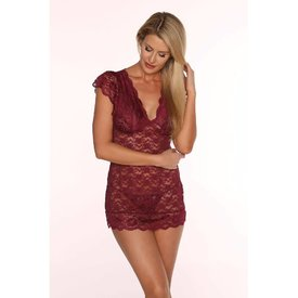 Floral Lace Chemise Set - Perfect Plum Curvy/Plus