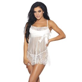 White Lace Babydoll with Satin Bow - Curvy /Plus
