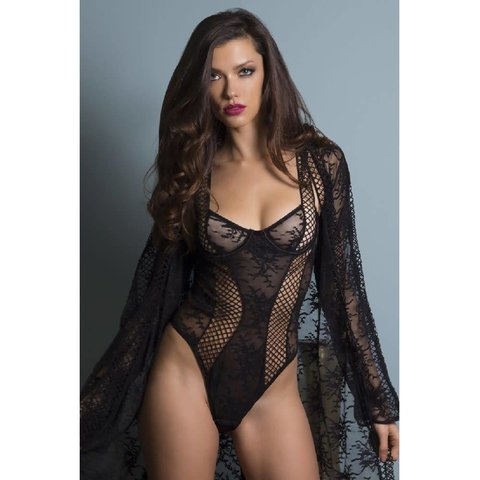 Chantal Lace & Lattice Net Teddy