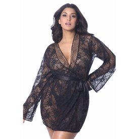 Oh La La Cheri Chantal Lace & Lattice Net Robe - Curvy