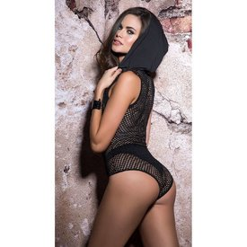 Mapale Hooded Fishnet Bodysuit