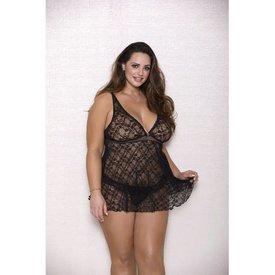 iCollection Halter Pleated Lace Babydoll - Curvy/Plus