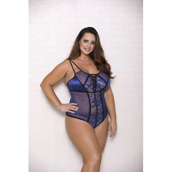 iCollection Dotted Mesh and Lace Teddy - Curvy
