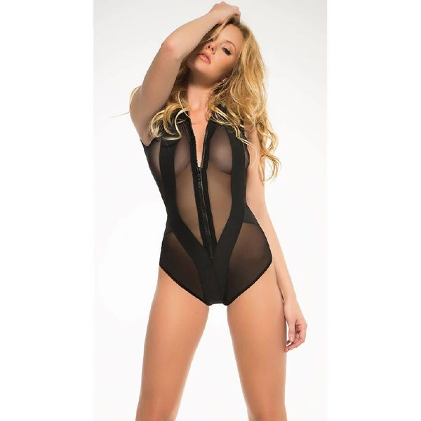 Sheer Sleeveless Bodysuit with Zipper Front