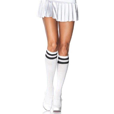 Athletic Knee High Socks - White/Black