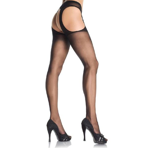 Leg Avenue Sheer Suspender Pantyhose Black - Queen