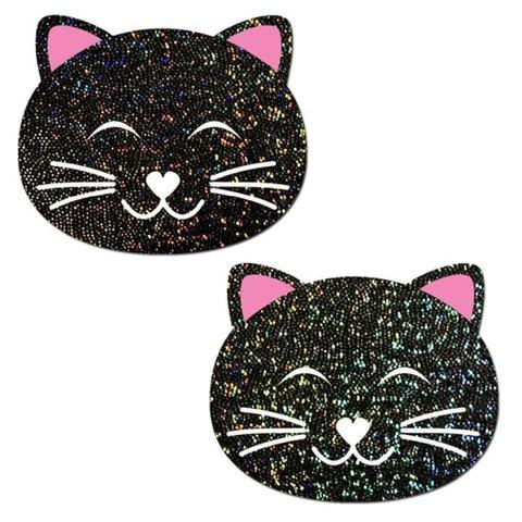 Happy Black Cat Glitter Pasties