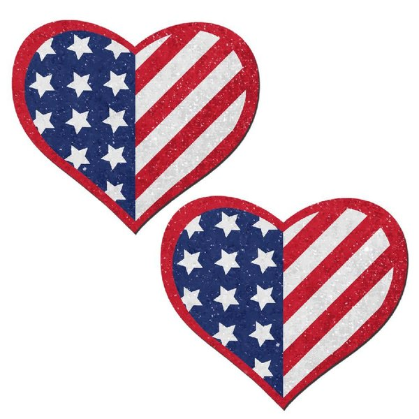 Pastease Glittering Patriotic USA Stars and Stripes Heart
