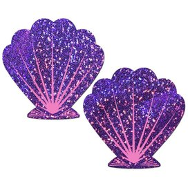 Pastease Glitter Purple and Pink Seashell Pasties