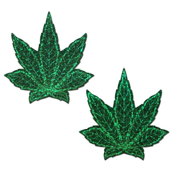 Pastease Glitter Green Weed Pasties