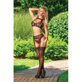 Exposed Bra Garter and G-String Set