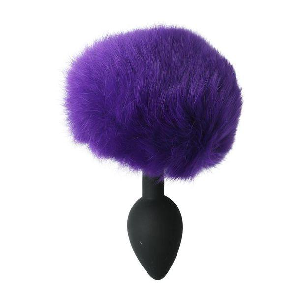 Sportsheets Silicone Bunny Tail Plug - Purple Puff