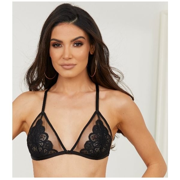 Escante Mesh Pretty Petals Bra Black