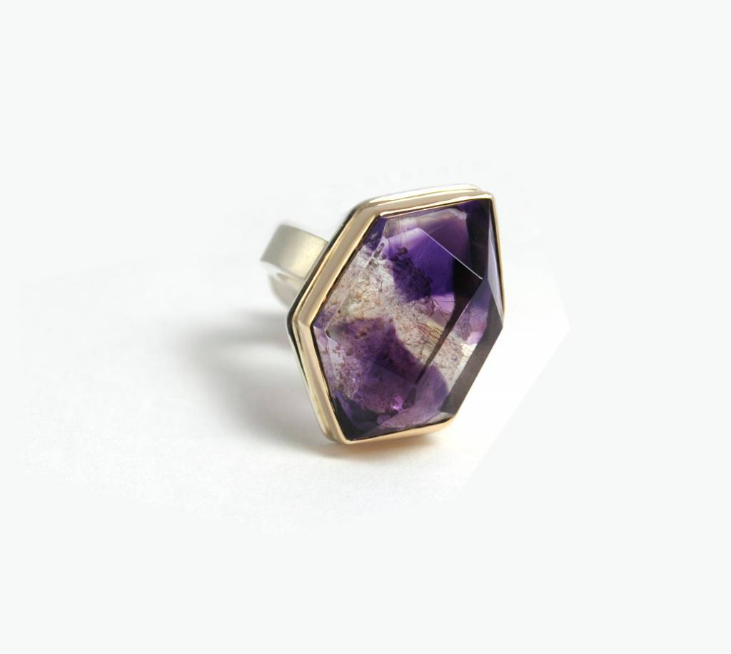 Jamie Joseph Jamie Joseph Open Back Vertical Big Asymmetrical Faceted Amethyst on Sterling Silver and 14K Gold Y Band