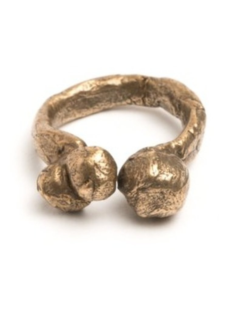 AC Hand Cast Bronze Bubble Ring Size 8