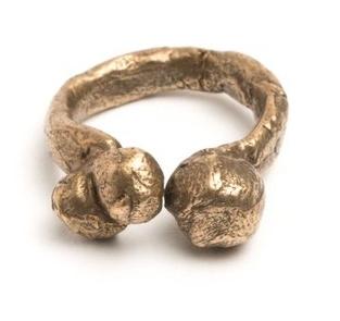 AC Hand Cast Bronze Bubble Ring Size 8