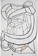 "Deborah Zlotsky Deborah Zlotsky KNOT DRAWING NUMBER 7 19 x 16"" ink, paint, pen on paper framed in raw maple"