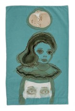 "Layne Kleinart Layne Kleinart THREE ON A RAFT 29 x 19"" coffee, tea, sumi ink, acrylic on found textile"