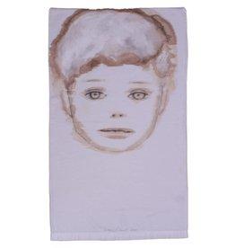 """Layne Kleinart Layne Kleinart BEFORE CAMELOT 32 x 19"""" coffee, tea, sumi ink, acrylic on found textile"""