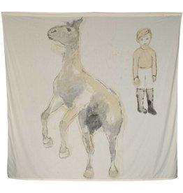 """Layne Kleinart Layne Kleinart MENAGERIE 2 99 x 104"""" coffee, sumi ink on found textile"""
