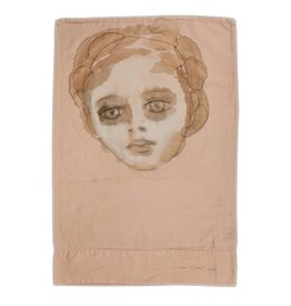 """Layne Kleinart Layne Kleinart TAKING NOTICE 29 x 20"""" coffee, tea, sumi ink, acrylic on found textile"""