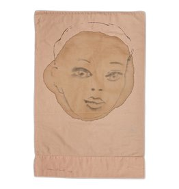 """Layne Kleinart Layne Kleinart YOUR EYES, MY MIND 20 x 19"""" coffee, sumi ink on found textile"""
