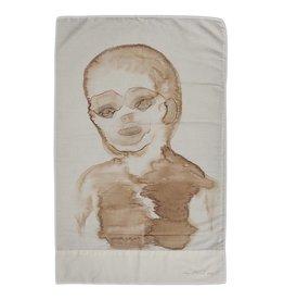 """Layne Kleinart Layne Kleinart DEEP BREATH 31 x 20"""" coffee, tea, sumi ink on found textile"""