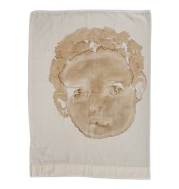 "Layne Kleinart Layne Kleinart LOST LITTLE 28 x 20"" coffee, tea, sumi ink on found textile"
