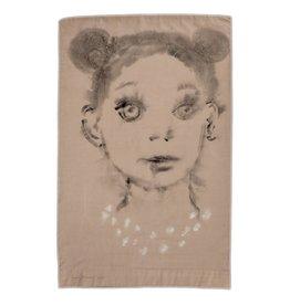 """Layne Kleinart Layne Kleinart DRESS UP 30 x 19"""" coffee, tea, sumi ink, acrylic on found textile"""