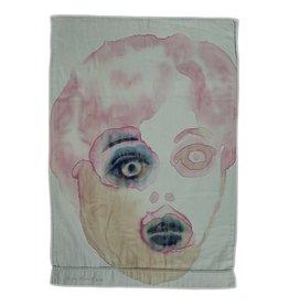 "Layne Kleinart Layne Kleinart MAGIC MOMENT 28 x 19"" coffee, wine, beet juice, sumi ink, house paint on found textile"
