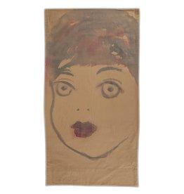 """Layne Kleinart Layne Kleinart RUBY 40 x 20"""" coffee, sumi ink, beet juice on found textile"""